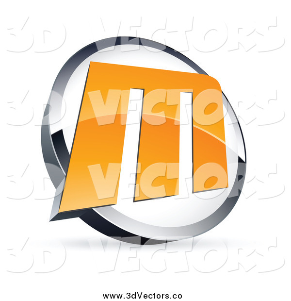 Vector Clipart of an Orange Letter M in a Circle