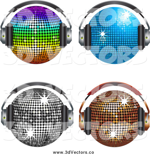 Vector Clipart of Four Shiny Disco Balls Wearing Headphones