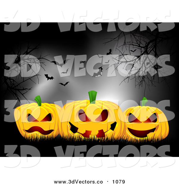 Vector Clipart of Moonlight on 3d Halloween Pumpkins Under Bare Trees and Bats