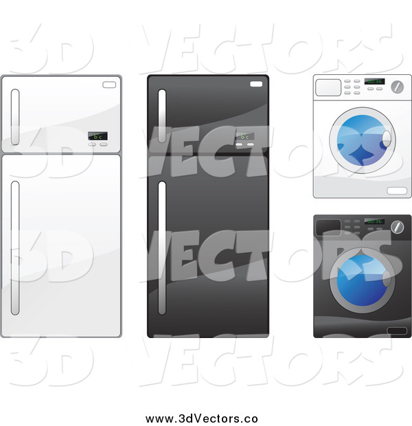 Vector Clipart of Refrigerators and Washing Machines