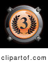 3d Vector Clipart of a 3d Chrome and Orange Third Place Icon Button with Laurels by Frog974