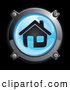 3d Vector Clipart of a 3d Shiny Blue House Button Icon by Frog974