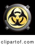 3d Vector Clipart of a 3d Shiny Yellow Biohazard Button Icon by Frog974