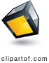 3d Vector Clipart of a Metallic Cube with One Yellow Transparent Window by Beboy