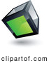 3d Vector Clipart of a Shiny Cube with One Green Transparent Window by Beboy