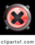 3d Vector Clipart of a Shiny Red X Button Icon on Black by Frog974