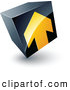 3d Vector Clipart of a Yellow Arrow Pointing up on a Tilted Black Cube by Beboy