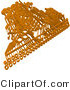 3d Vector Clipart of an Orange Circuit Board over a Solid White Background by Tonis Pan