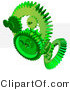 3d Vector Clipart of Bright Green Gear Cogs and Grid by Tonis Pan