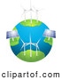 3d Vector Clipart of Eco Friendly Wind Farm Turbines and Solar Panels Generating Energy on Planet Earth, on a White Background by Elaineitalia