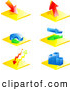 3d Vector Clipart of Six Colorful Financial Icons of Arrows, Business Charts and Graphs by Elaineitalia