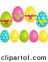 Vector Clipart of 3d Floral and Polka Dot Easter Eggs by Elaineitalia