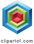 Vector Clipart of a 3d Blue, Red and Green Cube by Cidepix