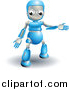 Vector Clipart of a 3d Blue Robot Presenting by AtStockIllustration