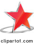 Vector Clipart of a 3d Gradient Red Star and Chrome Ring by Vector Tradition SM