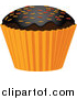 Vector Clipart of a 3d Halloween Cupcake with Sprinkles by Elaineitalia