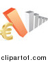 Vector Clipart of a 3d Silver and Orange Bar Graph Falling down on a Euro Symbol by Andrei Marincas