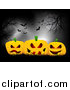Vector Clipart of Moonlight on 3d Halloween Pumpkins Under Bare Trees and Bats by KJ Pargeter